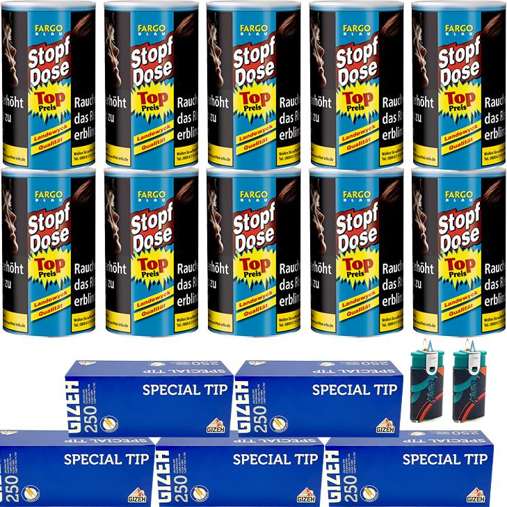 Fargo Stopfdose Blau 10 x 140g mit 1250 Gizeh King Size Hülsen