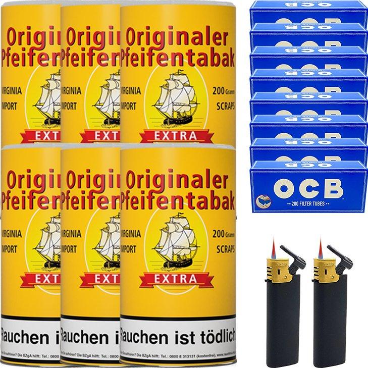 Originaler Pfeifentabak 6 x 200g mit 1600 Hülsen
