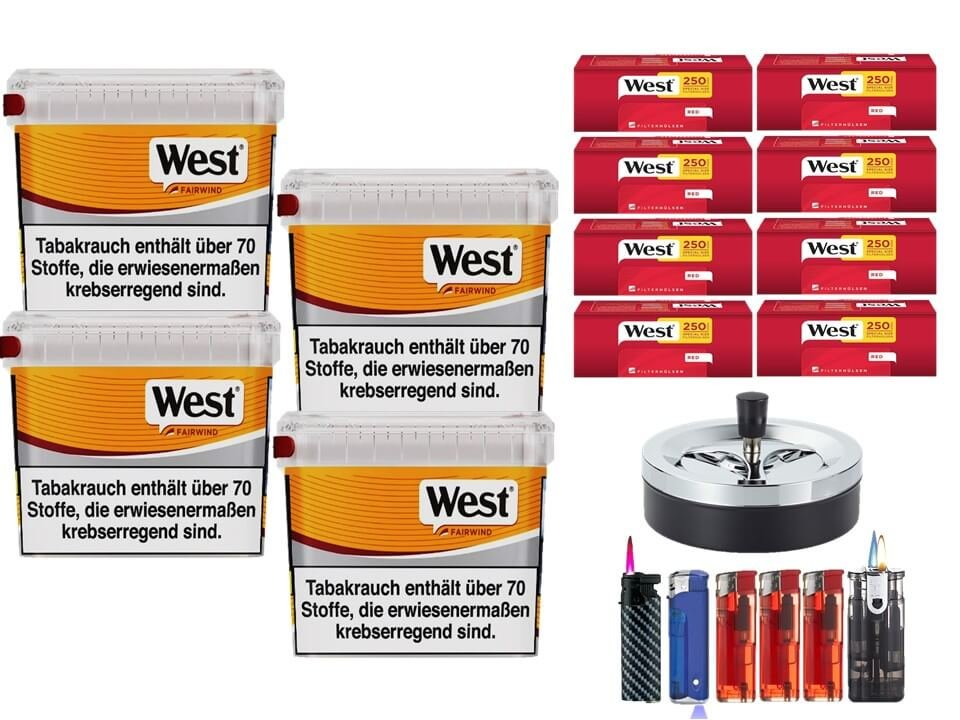 West Yellow Fairwind 4 x 215g Volumentabak 2000 West Red Special Size Filterhülsen Uvm.