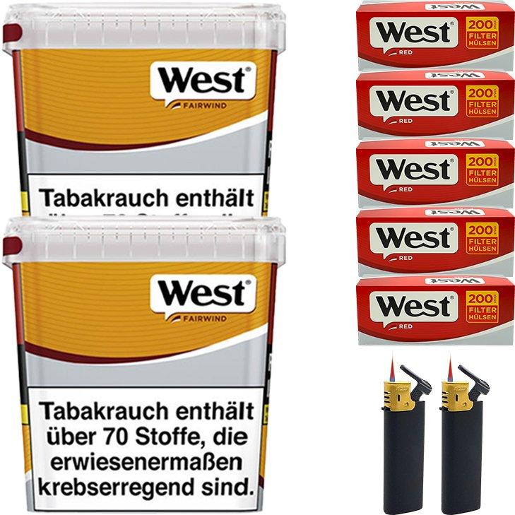 West Yellow Fairwind 2 x 280g mit 1000 King Size Hülsen