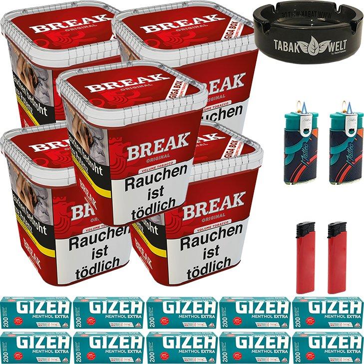 Break Original 5 x 230g mit 2000 Menthol Extra Hülsen