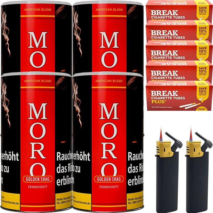 Moro Rot Feinschnittabak 4 x 180g mit 1000 Plus Hülsen