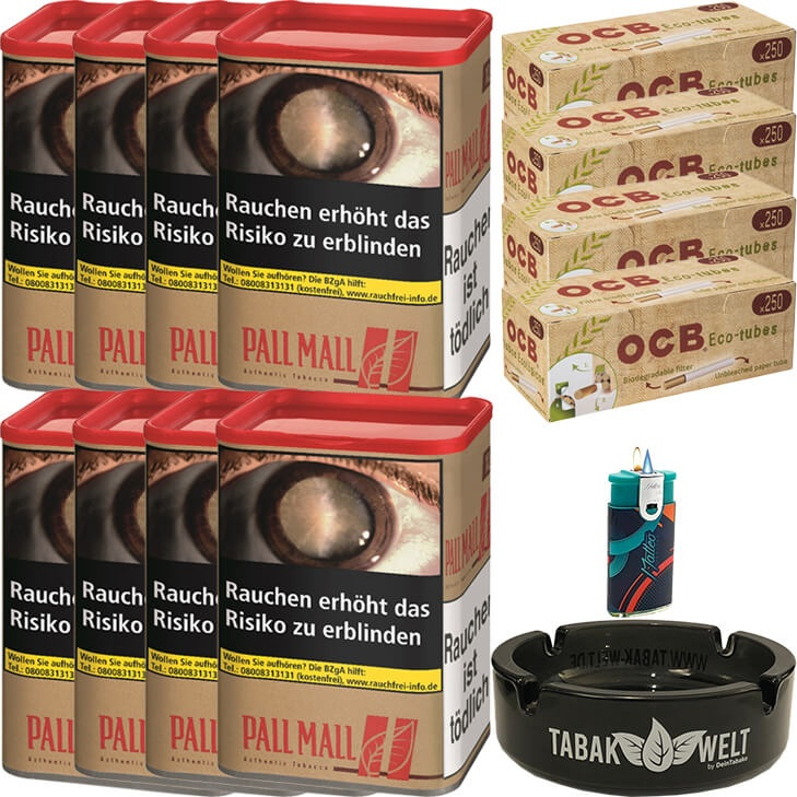 Pall Mall Authentic Red 8 x 55g mit 1000 Eco-Tubes Hülsen