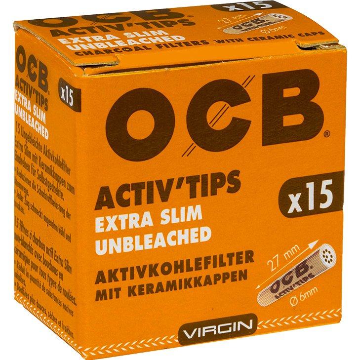 OCB Activ'Tips Extra Slim Unbleached 6 mm 15 Stück