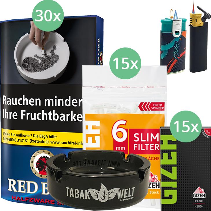 Red Bull Halfzware Shag 30 x 40g mit Gizeh Blättchen und Filter
