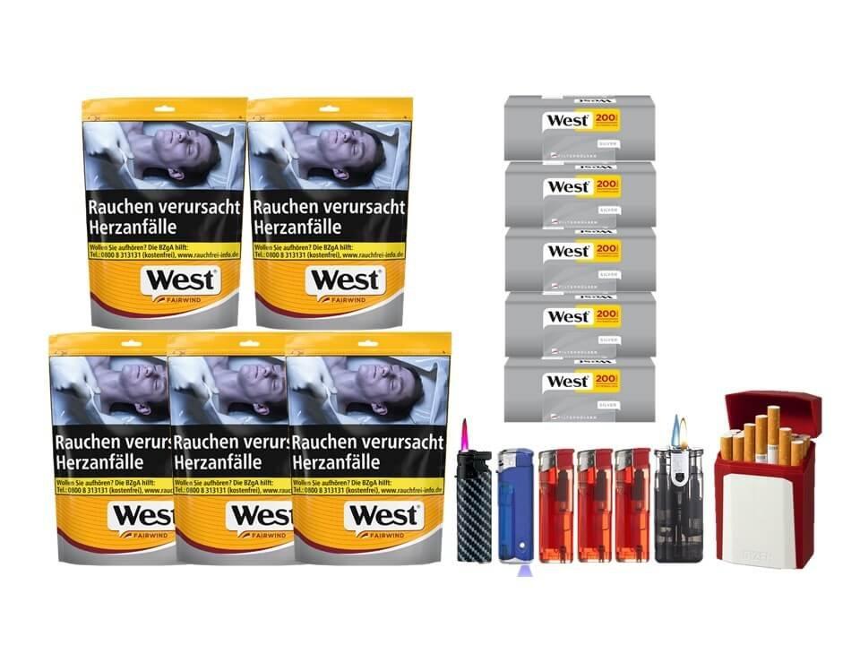 West Yellow Fairwind 5 x 120g mit 1000 Silver King Size Hülsen