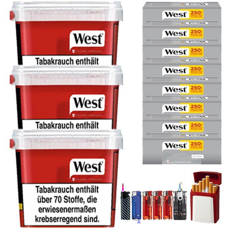 West Red 3 x 280g mit 2000 Silver Extra Size Hülsen
