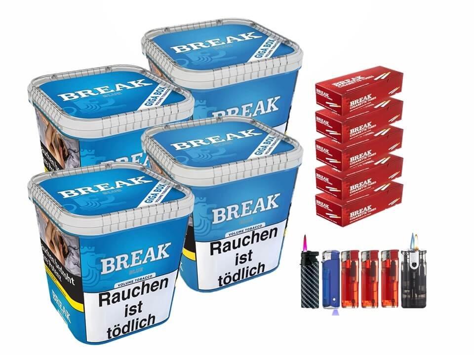 Break Blue / Blau 4 x 230g Volumentabak 1000 Break Filterhülsen Uvm.