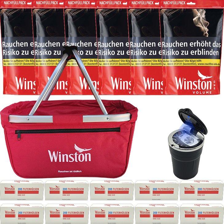 Winston Red 6 x 125g mit 2000 King Size Hülsen