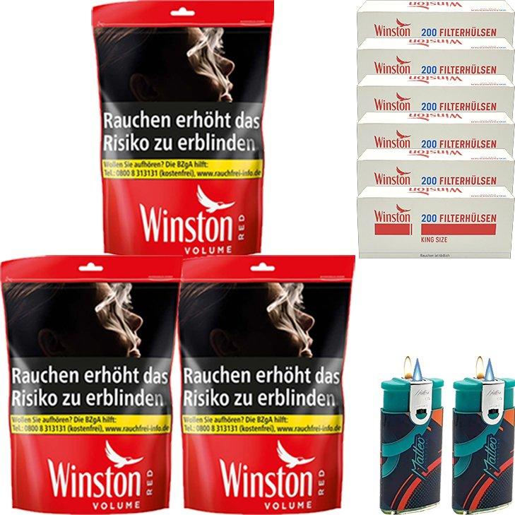 Winston Red 3 x 185g mit 1200 King Size Hülsen