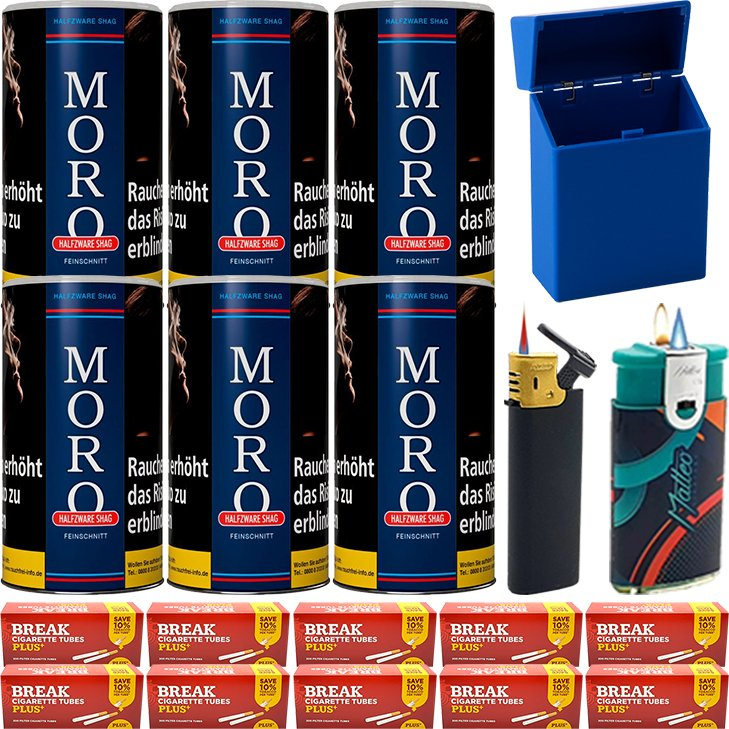Moro Blau Feinschnittabak 6 x 180g mit 2000 Plus Hülsen