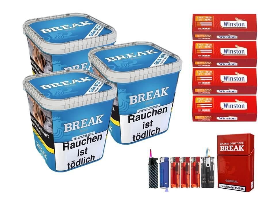 Break Blue / Blau 3 x 230g Volumentabak 1000 Extra Size Filterhülsen Uvm.