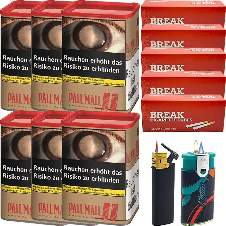 Pall Mall Authentic Red 6 x 55g mit 1000 King Size Hülsen