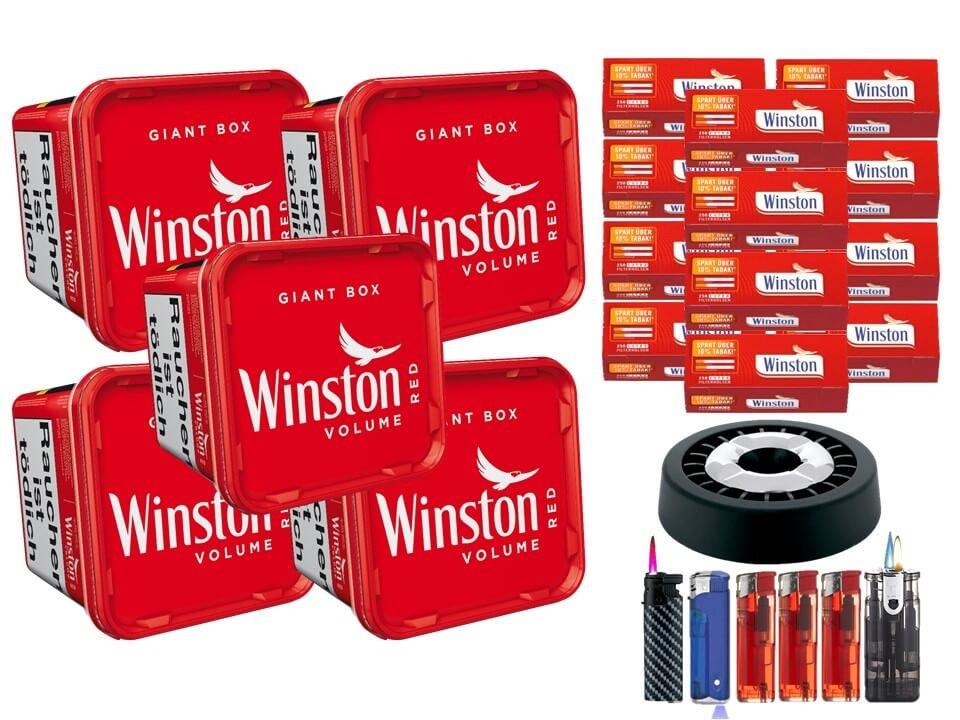 Winston Giant Box 5 x 260g Volumentabak 3000 Winston Extra Filterhülsen Uvm.