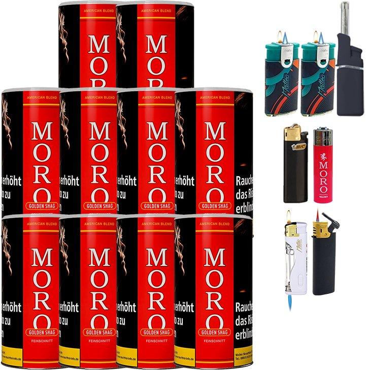 Moro Rot Feinschnittabak 10 x 180g mit Feuerzeugen