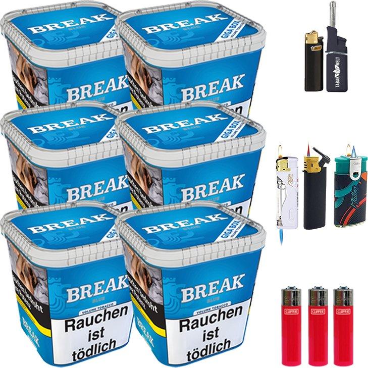 Break Blue 6 x 230g mit Clipper Feuerzeugen