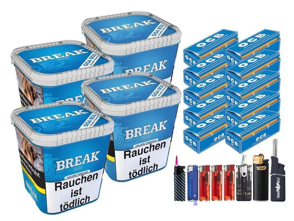 Break Blue / Blau 4 x 230g Volumentabak 2000 OCB Filterhülsen Uvm.