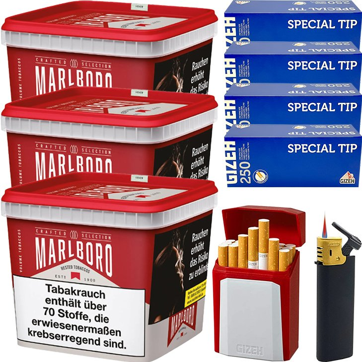 Marlboro Crafted Selection 3 x 300g mit 1000 King Size Hülsen