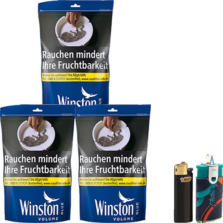Winston Blue 3 x 125g mit Feuerzeuge