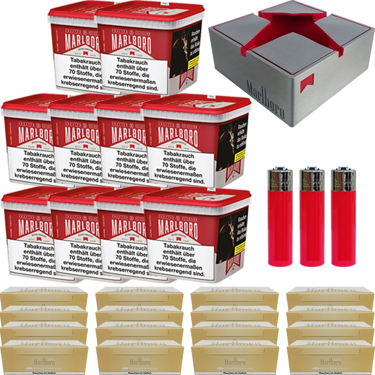 Marlboro Crafted Selection 10 x 300g mit 4000 Gold Extra Hülsen