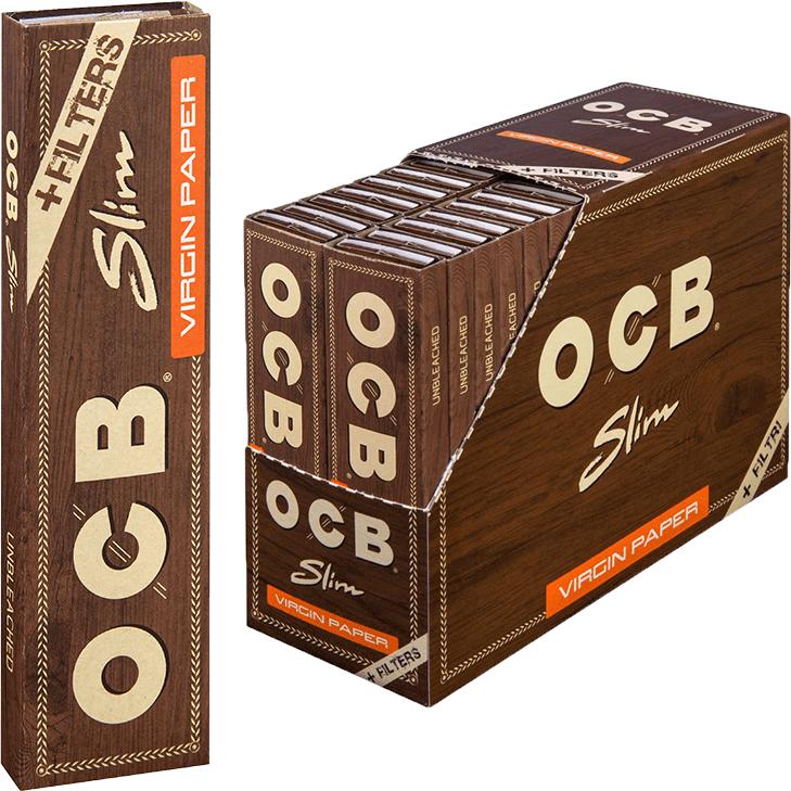 OCB Unbleached Slim Virgin 32 x 32 Blatt mit Tips