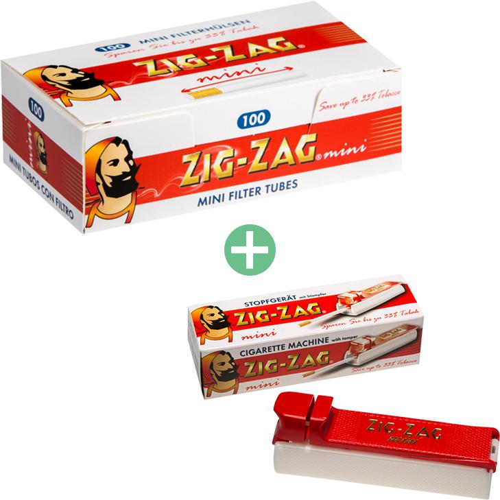 Zig-Zag mini Filterhülsen 25 x 100er mit Zig-Zag mini-Stopfer