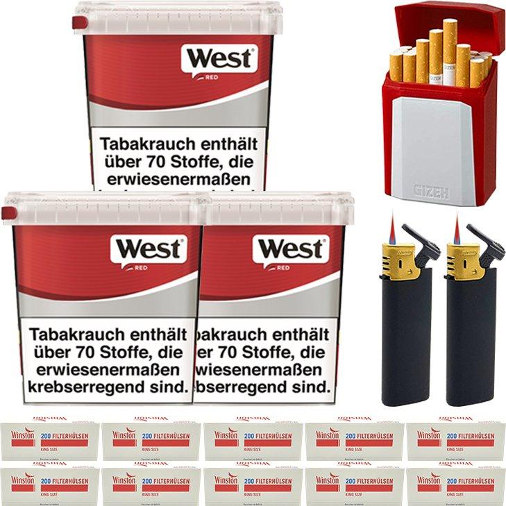 West Red 3 x 260g mit 2000 King Size Hülsen