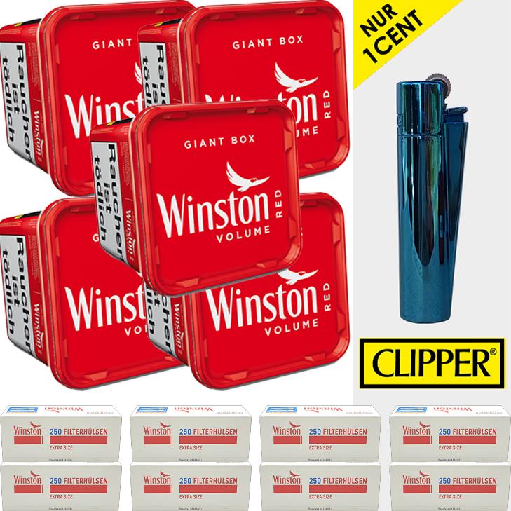 Winston Volume Red 5 x 260g mit 2000 Extra Size Filterhülsen