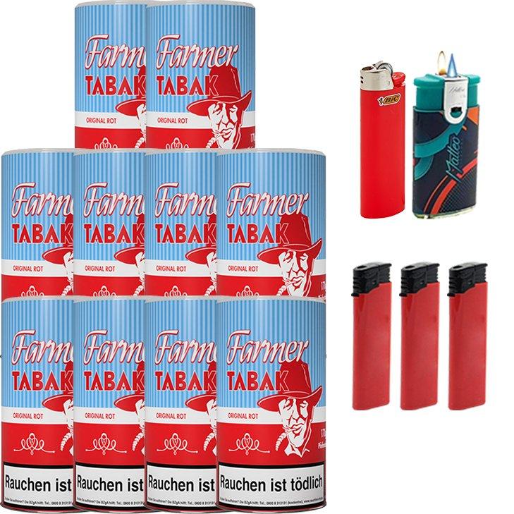 Farmer 10 x 160g Pfeifentabak Rot mit Feuerzeugen