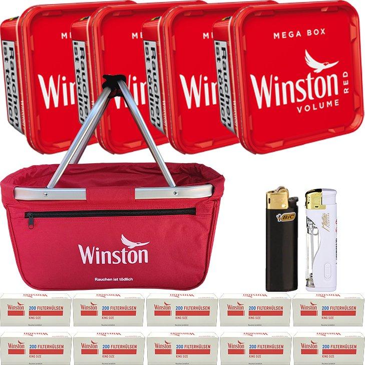 Winston Red 4 x 155g mit 2000 King Size Hülsen