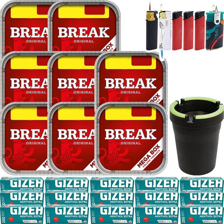 Break Original 8 x 170g mit 3000 Menthol Extra Hülsen