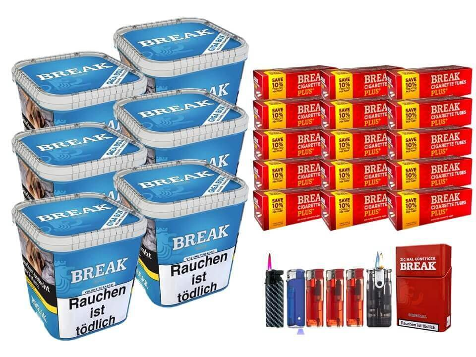 Break Blue / Blau 6 x 230g Volumentabak 3000 Break Xtra Plus Filterhülsen Uvm.