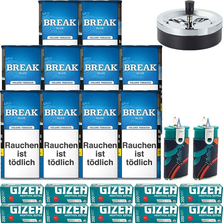 Break Blue / Blau 10 x 115g mit 2000 Gizeh Menthol Extra Hülsen
