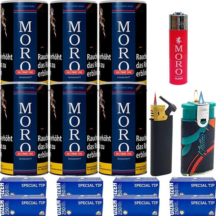 Moro Blau Feinschnittabak 6 x 180g mit 2000 King Size Hülsen