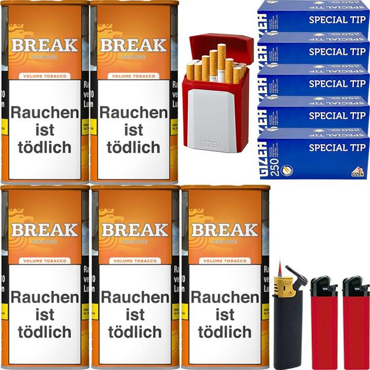 Break Orange 5 x 110g mit 1250 King Size Hülsen