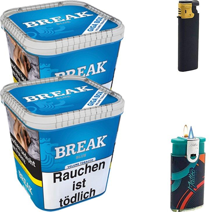 Break Blue / Blau 2 x 230g Volumentabak Feuerzeug Set