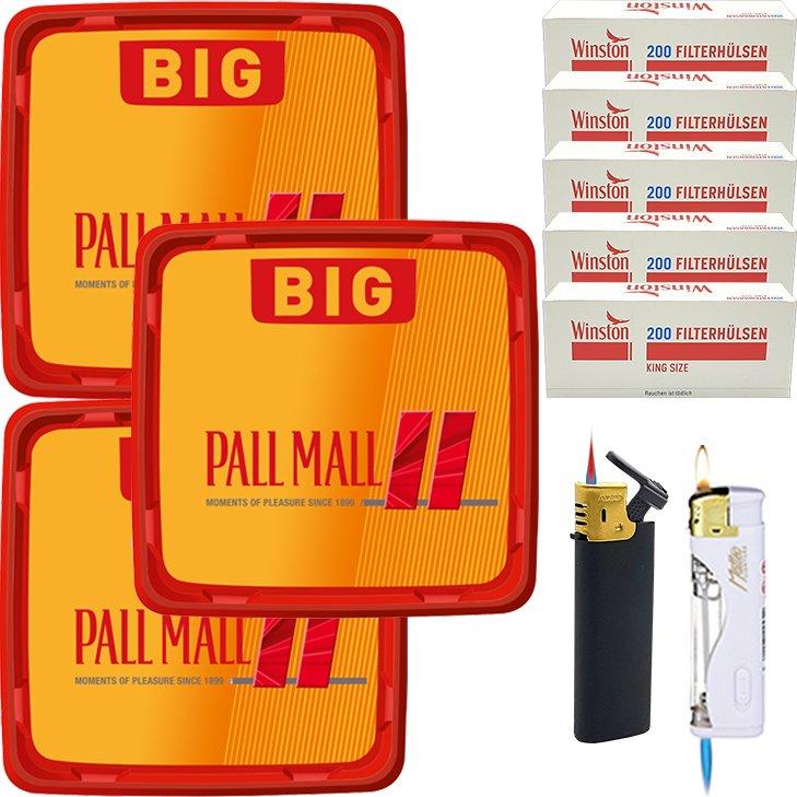 Pall Mall Allround Red 3 x 120g mit 1000 King Size Hülsen