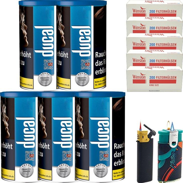 Ducal BLue 5 x 200g mit 1000 King Size Filterhülsen