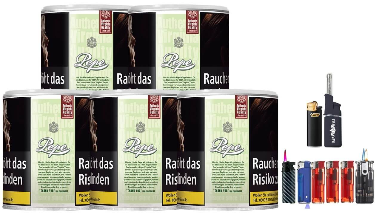 Pepe Bright Green 5 x 80g Feinschnitt / Zigarettentabak Feuerzeug Set
