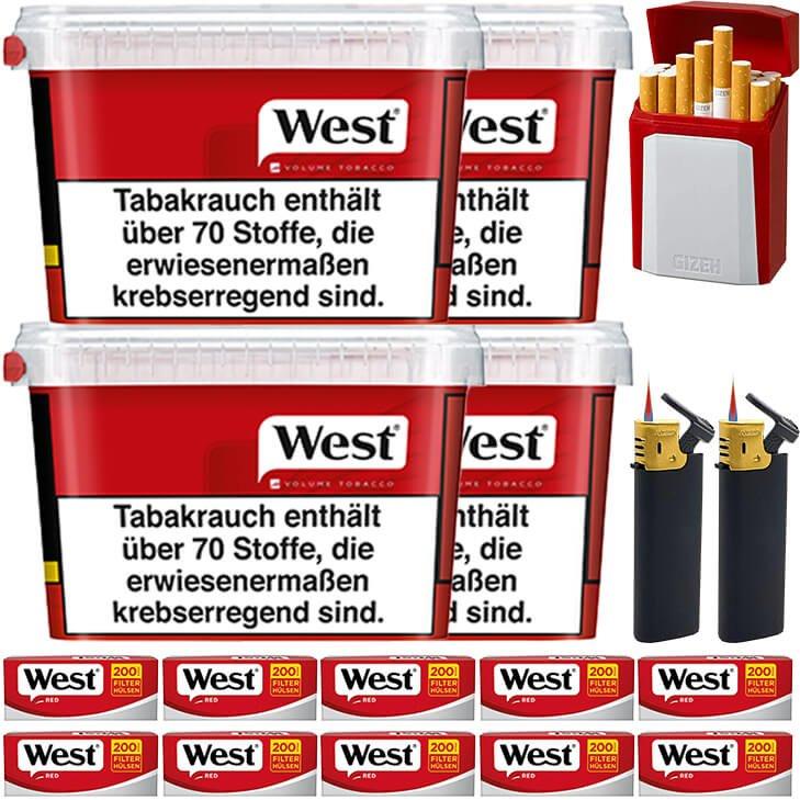 West Red 4 x 155g mit 2000 King Size Hülsen