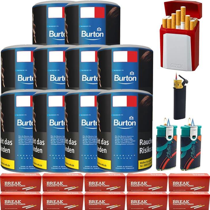 Burton Blue / Blau 10 x 120g mit 2000 King Size Hülsen