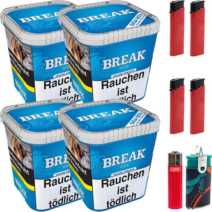 Break Blue 4 x 230g mit Clipper Feuerzeug