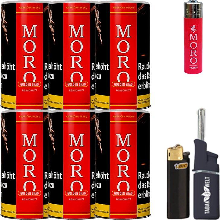 Moro Rot Feinschnittabak 6 x 180g mit Feuerzeugen