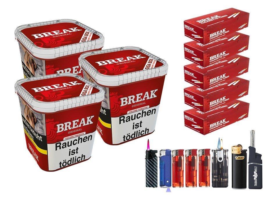 Break Original 3 x 230g Volumentabak 1000 Break Filterhülsen Uvm.