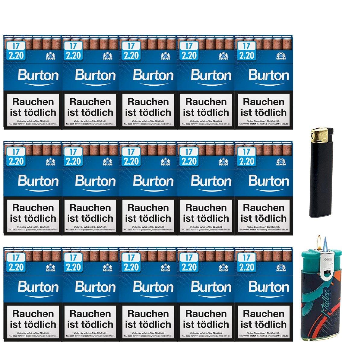 Burton Blue Zigarillos mit Filter (3 Stangen) 30 x 17 Stück Uvm.