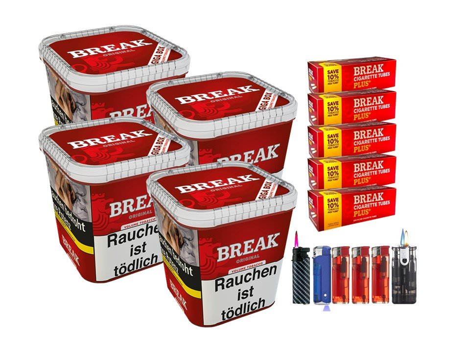 Break Original 4 x 230g Volumentabak 1000 Break Xtra Plus Filterhülsen Uvm.