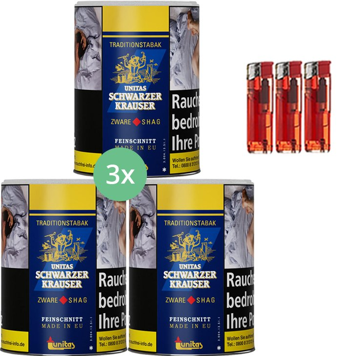 Schwarzer Krauser Zware Shag 3 x 125g Zigarettentabak Feuerzeuge