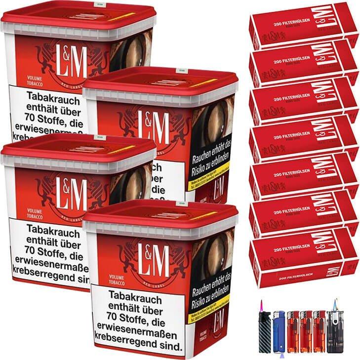 L&M Red Super Box 4 x 260g mit 1400 Hülsen