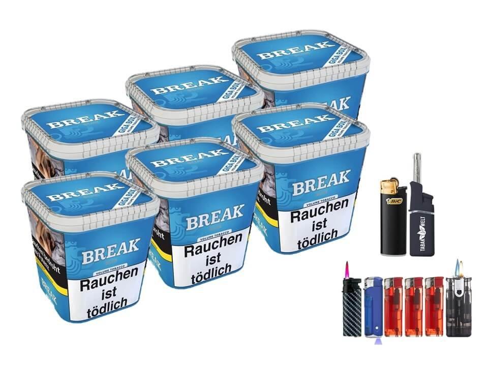 Break Blue / Blau 6 x 230g Volumentabak Feuerzeug Set