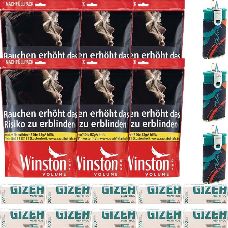Winston Red 6 x 125g mit 2000 Menthol King Size Hülsen